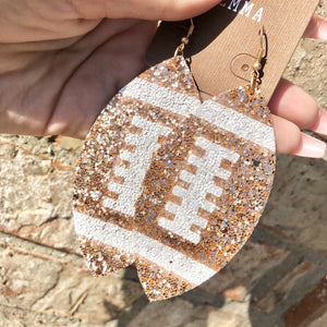 Rose Gold Glitter Football Earrings