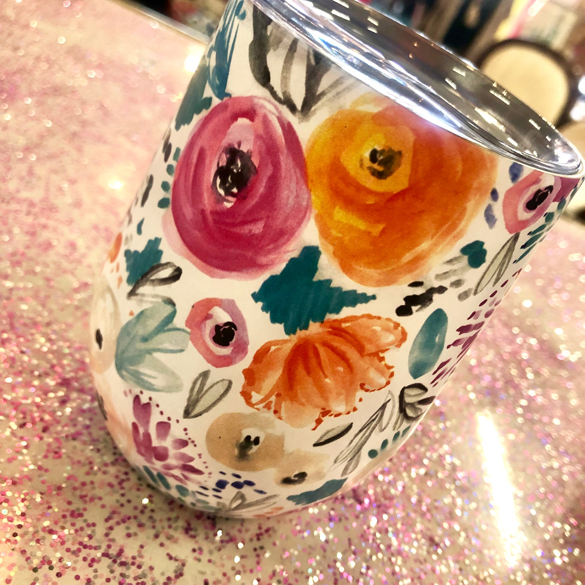 White Floral Wine Cup