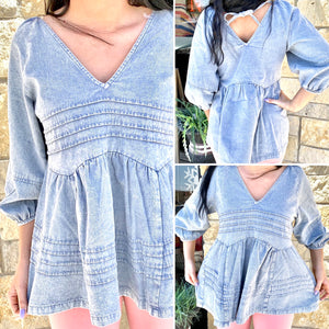 Southern Sass Denim Babydoll Top