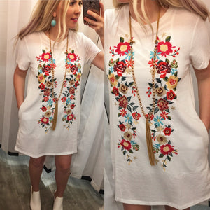 White Fiesta Embroidered Tee Dress