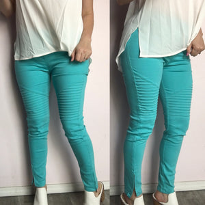 Turquoise Moto Jeggings