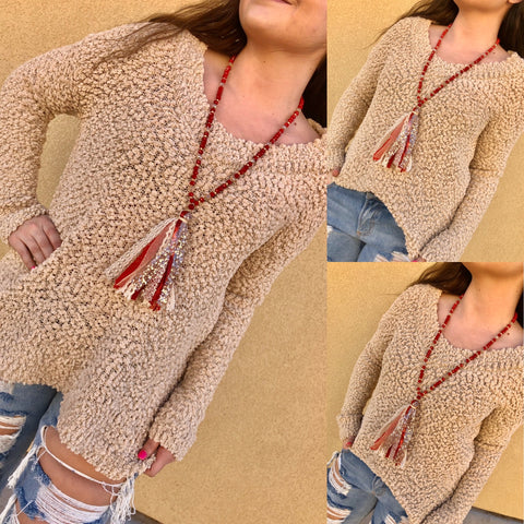 Light Taupe V-Neck Popcorn Sweater