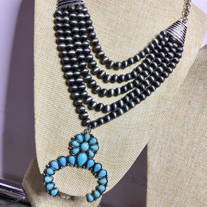 Navajo Beaded Layer Squash Blossom Necklace