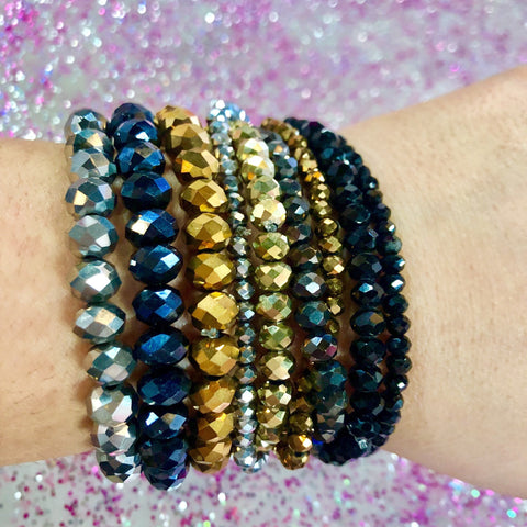 Glam Beaded Bracelet SET of 9- 2 COLORS
