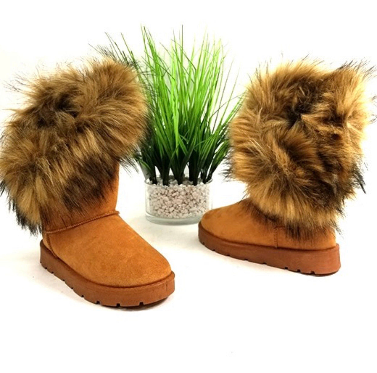 Brown Faux Fur Booties