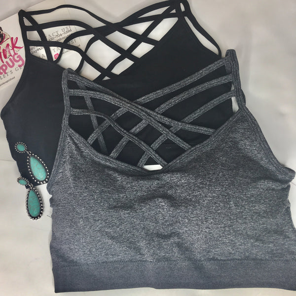 Charcoal Criss Cross Strappy Bralette