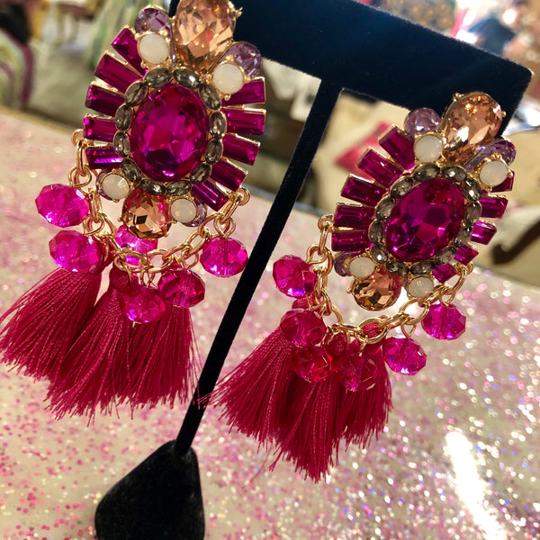 Over The Top Pink Tassel Earrings