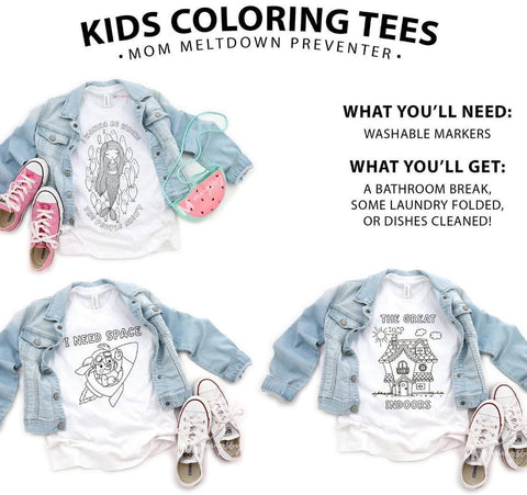 Rocket I Need Space Kids Coloring Tee