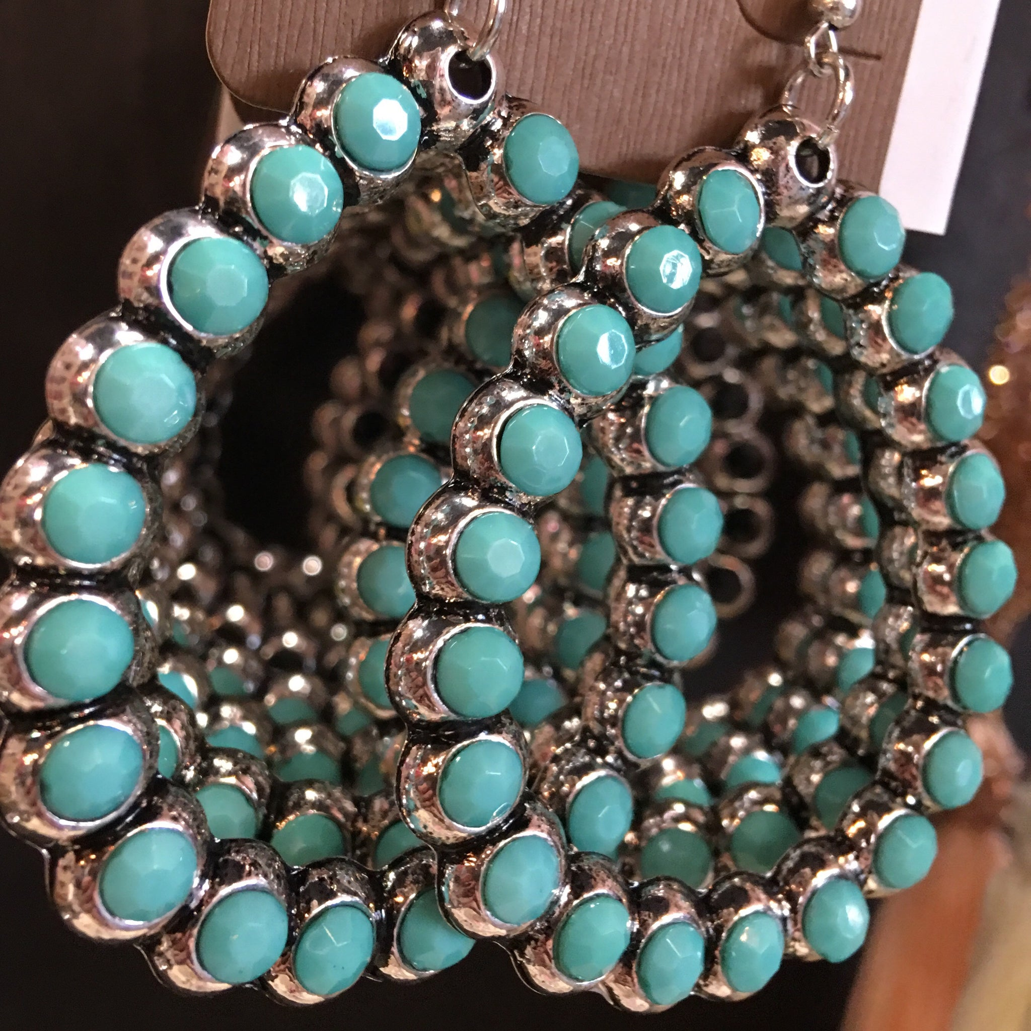 Turquoise Diamond Bubble Hoops