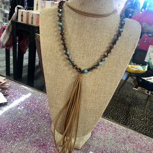 Leather Beaded Tassel Necklace- 3 Colors