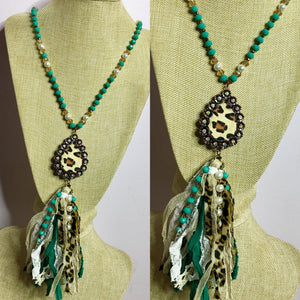 Turquoise Leopard Pendant Beaded Fabric Tassel Necklace