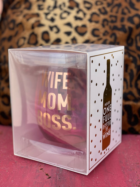 Wife Mom Boss Giant Stemless Wine Glass