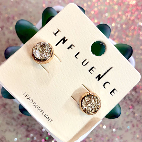 Silver Gold Druzy Stud Earrings