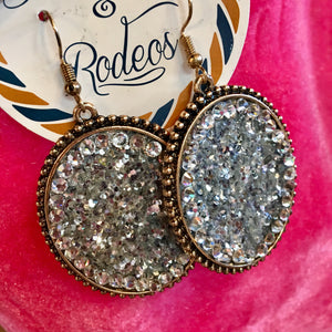 Chunky Glitter Diamond Lined Earrings- 3 Colors