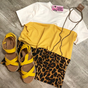 Mustard And Leopard Color Block Top