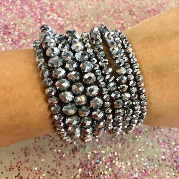 Glam Beaded Bracelet SET of 9- 10 COLORS