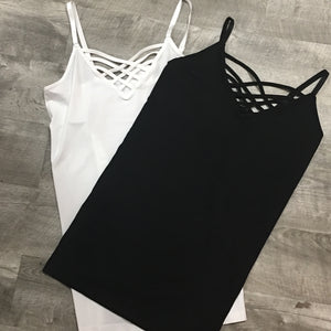 Plus Size Black Criss Cross Cami