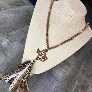 Leopard Texas Fabric Tassel Necklace