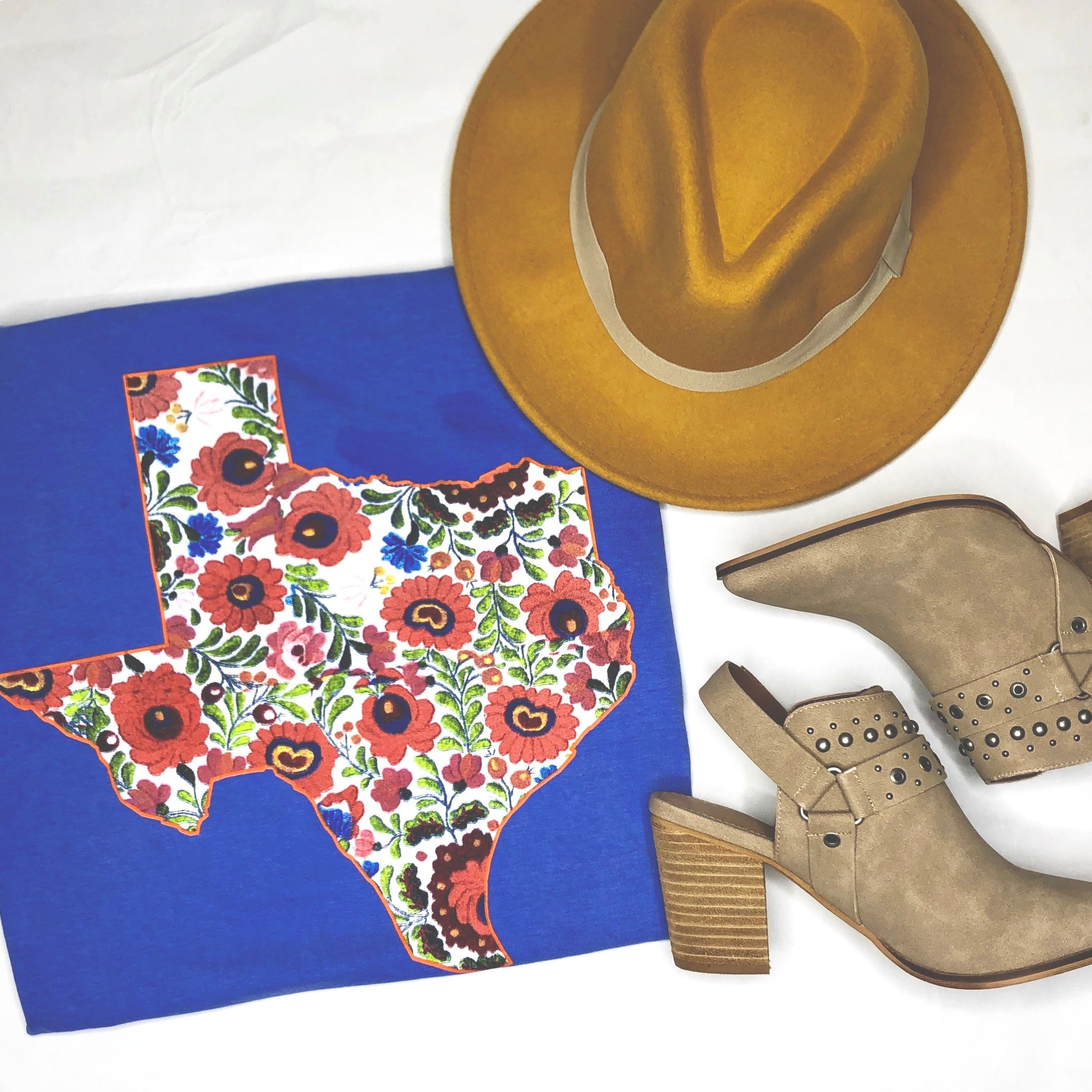 Flo Blue Floral Texas T-Shirt