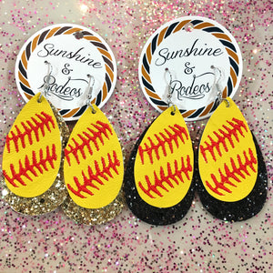 Layered Glitter Softball Earrings- 2 COLORS