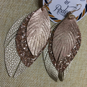 Rose Gold Glitter Feather Earrings