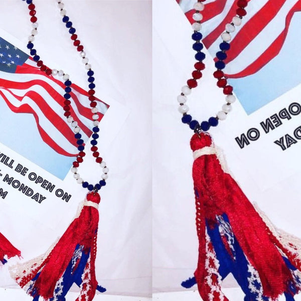 Red White & Blue Tassel Necklace