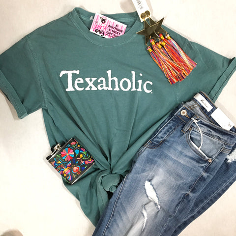 True Teal Texaholic Comfort Colors Tee