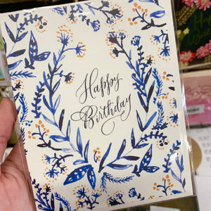 Cobalt & Canary Birthday Card