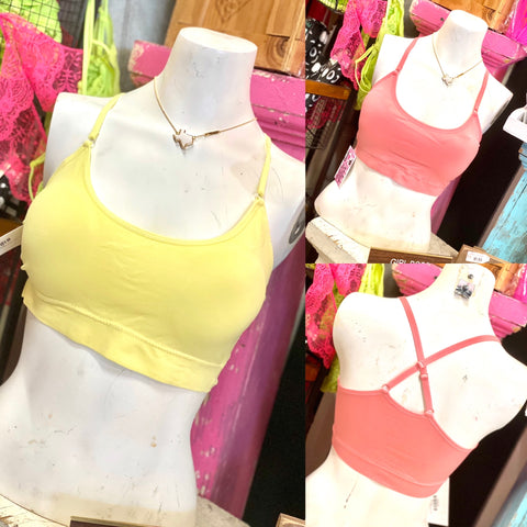 Light Yellow Padded Cross Back Bralette