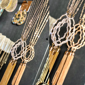 Chain Link Long Layer Moroccan Tassel Necklace- 2 COLORS