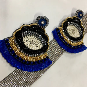 Royal Blue Evil Eye Fan Earrings