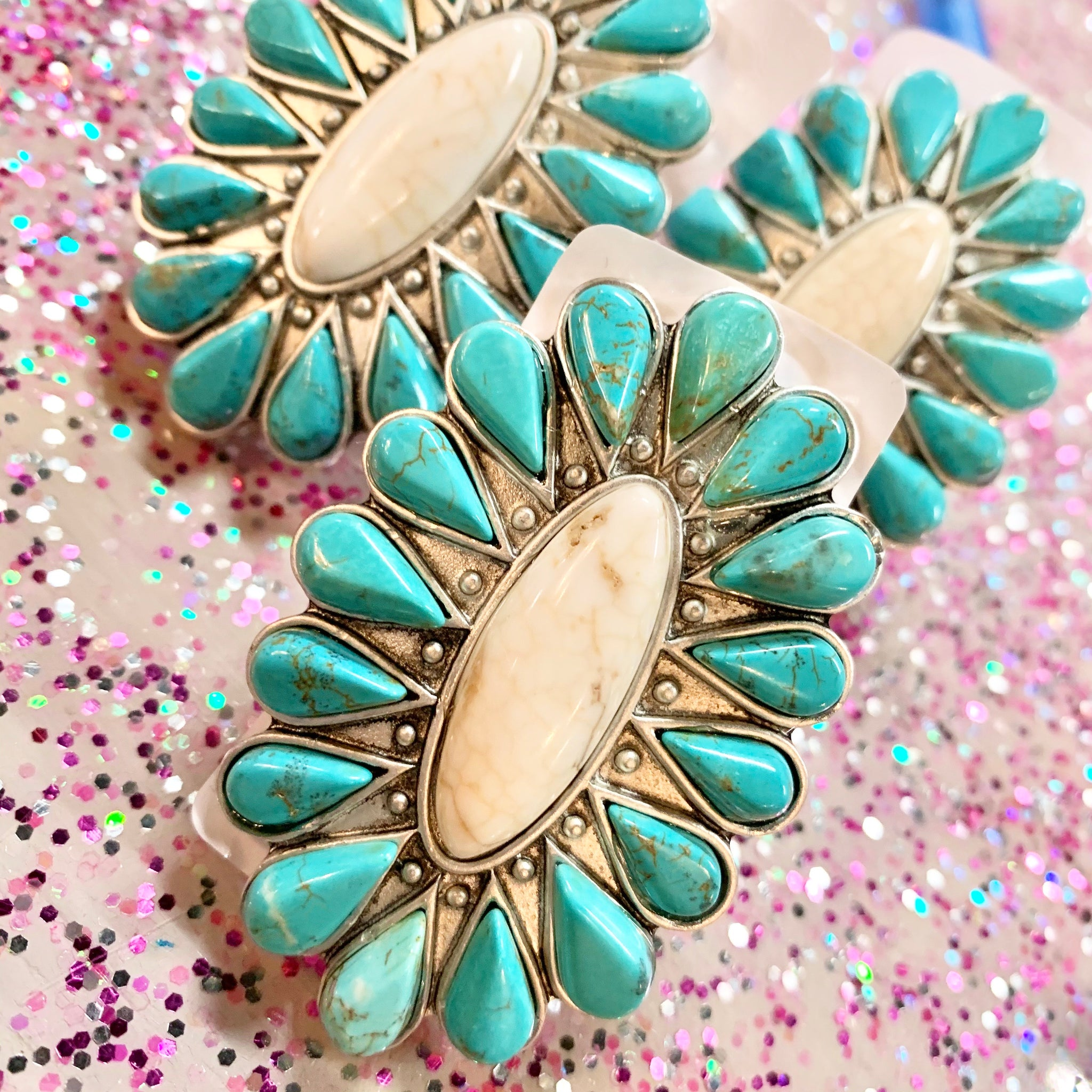 Flashy Turquoise Western Blossom Ring- 2 COLORS