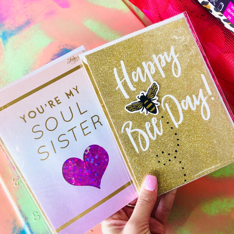 Happy Bee Day Gold Glitter Card