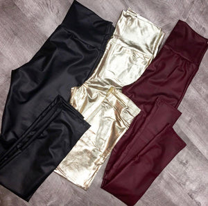 Burgundy Liquid Leather Leggings