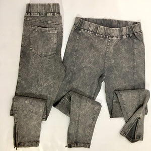 Plus Size Charcoal Acid Washed Jeggings