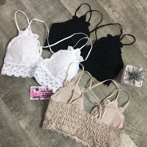 White Lace Strappy Padded Bralette