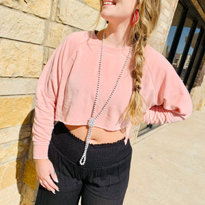 Misty Rose Cropped Sweater