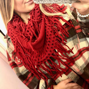 Coffee & Cuddles Fringe Infinity Scarf- 5 COLORS