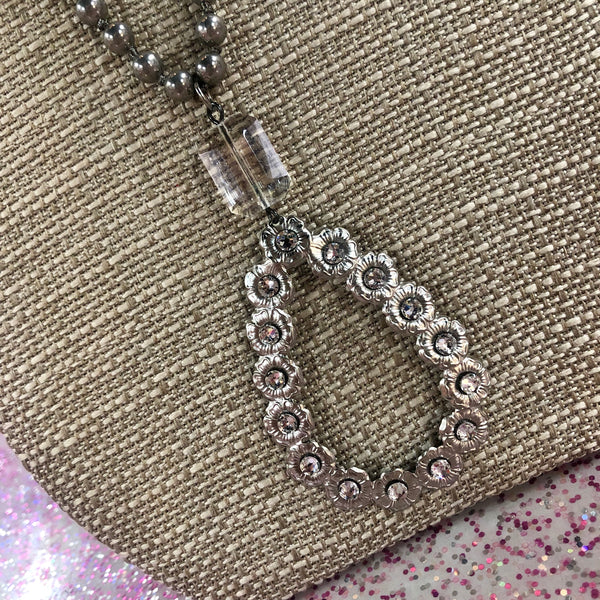 Pink Panache Silver Beaded Open Teardrop Necklace