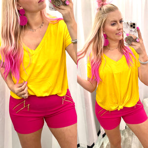 Mustard Cropped Mini Knot Top