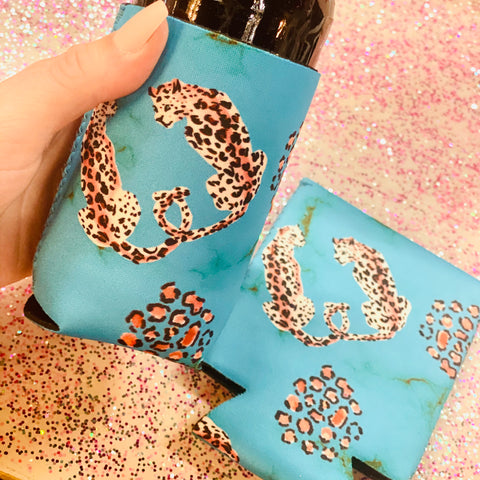 Turquoise Leopard Lovin' Can Cooler