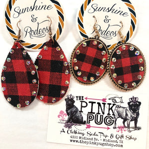 Buffalo Plaid Diamond Lined Pendant Earrings