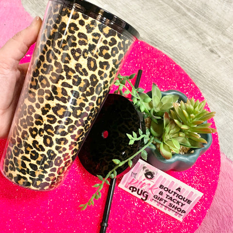 Leopard Tumbler with Lid and Straw