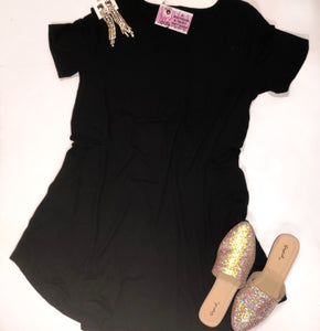 Plus Size Black T-Shirt Pocket Dress