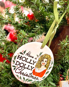 Holly Dolly Glass Ornament