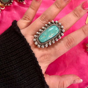 Western Natural Turquoise Stone Ring