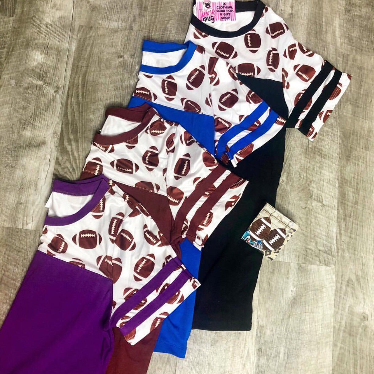 Maroon Football Print Jersey Top- SALE