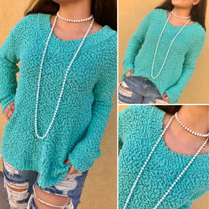 Mint V-Neck Popcorn Sweater