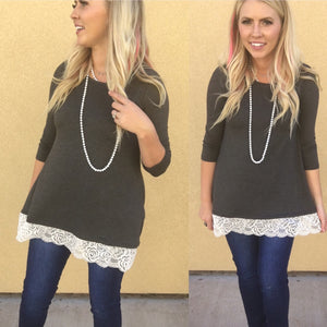 Charcoal High Low Lace Trim Top