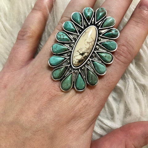 Oversized Natural Turquoise Stone Ring